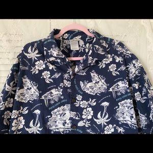 Disney Men Hawaiian Mickey Mouse/Goofy Shirt Sz L